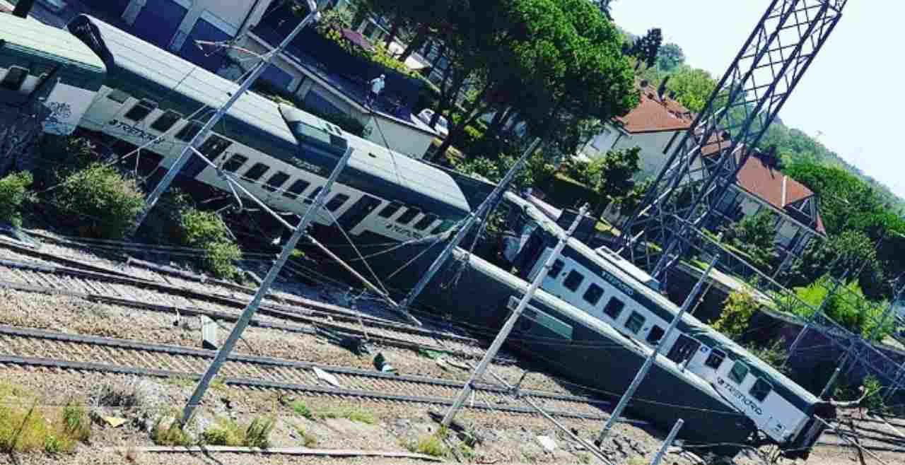 deraglia treno Trenord Carnate
