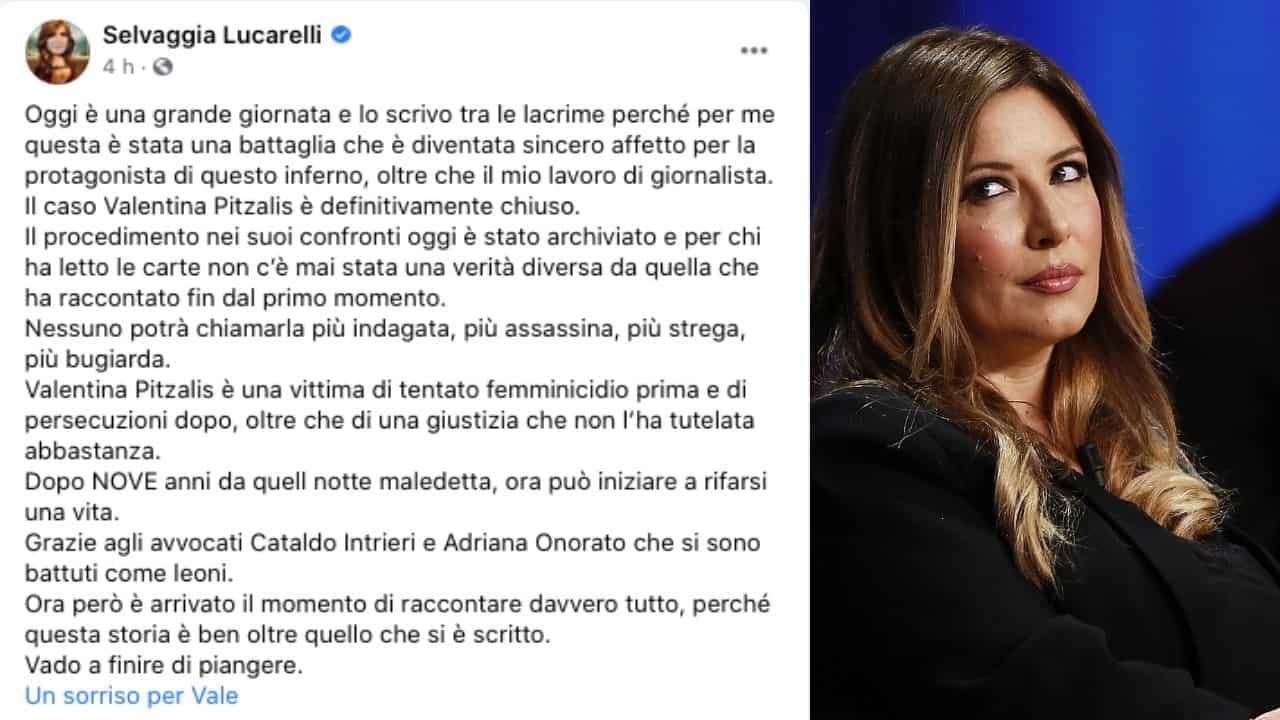 Selvaggia Lucarelli e il post sul caso Pitzalis