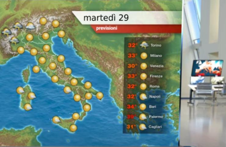 Screenshot Previsioni meteo 29 giugno