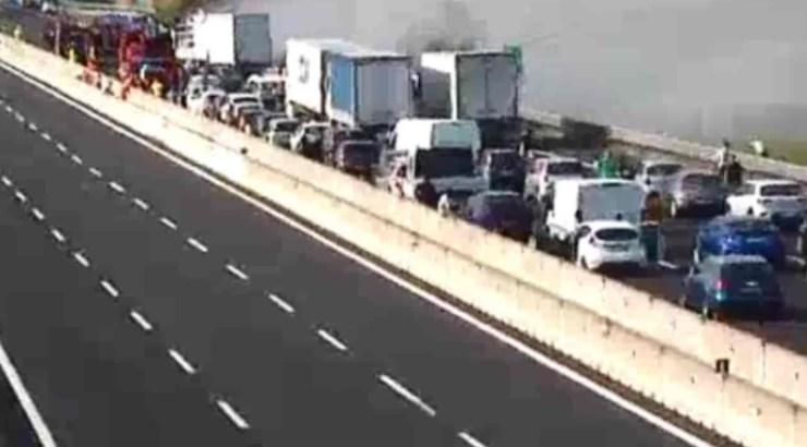Screenshot Incidente A1 Scontro tra due camion