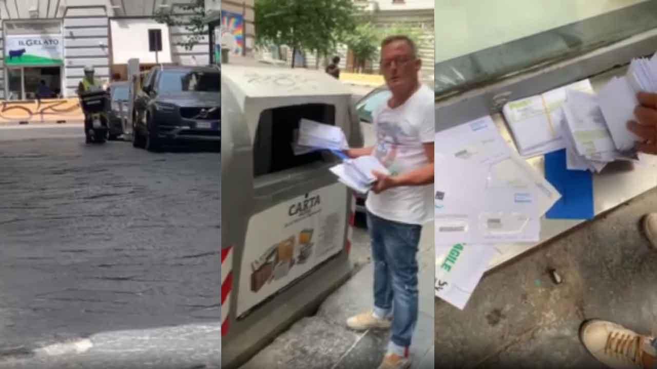 Napoli, un postino getta le lettere nella spazzatura (Screenshot)