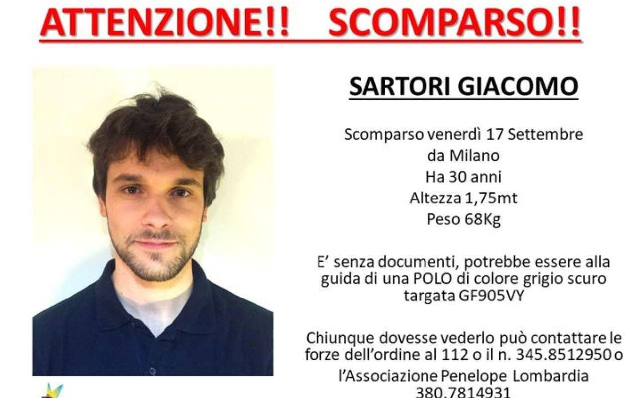 Giacomo Sartori scomparso a Milano: ansia per il tecnico informatico
