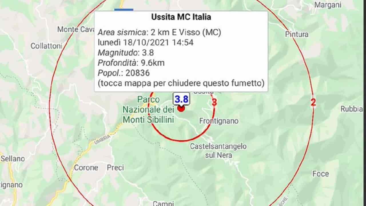 Terremoto a Visso: paura nel Centro Italia, scossa pochi minuti fa
